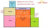 Prodej bytu 1+kk/B 36 m2 + balkon 6 m2, Nusle, ul. Kloboučnická