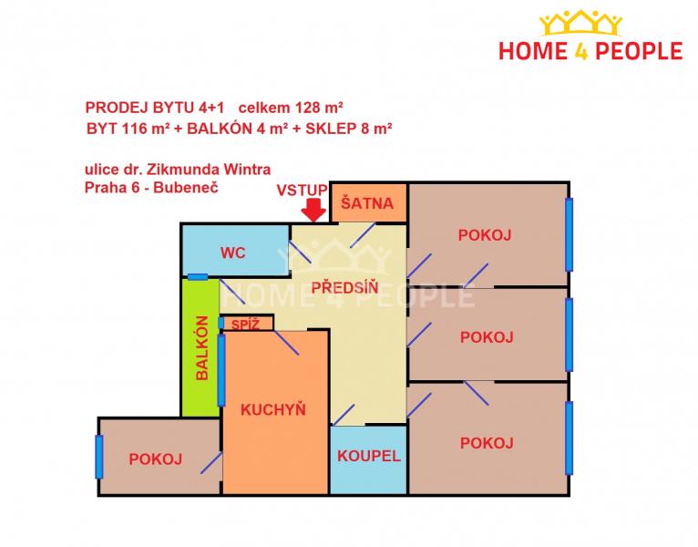 Prodej bytu, 4+1, 128 m2